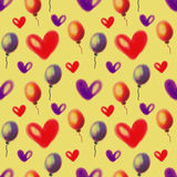 Seamless raster pattern. Watercolor background with hand drawn air ballons and hearts Royalty Free Stock Images