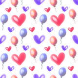 Seamless raster pattern. Watercolor background with hand drawn air balloons and hearts. Stock Photo