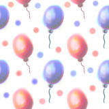 Seamless raster pattern. Watercolor background with hand drawn air balloons. Series of Watercolor Seamless Patterns, Backgrounds Stock Photo