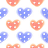 Seamless raster pattern. Watercolor background with hand drawn closeup hearts with dots. Stock Images