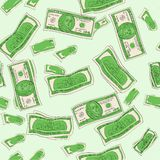 Seamless raster. Shades of green. One hundred dollars of banknotes, finance, bank. Paper money stock illustration