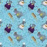 Seamless, rats artist, cook and singer. Seamless background, cartoon rats artist, cook and singer on a floral background with stars Stock Image