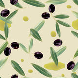 Seamless realistic olive oil background. Illustration Stock Photo