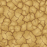 Seamless realistic pattern. Imitation print of dry soil of desert. Brown crack on beige background. Stock Photo