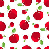 Seamless red apple pattern. On the white. Vector background Royalty Free Stock Photography