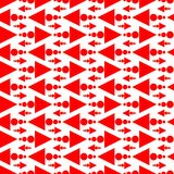 Red Arrows Seamless Texture Background. Seamless red arrow shapes with triangles and circles background. Geometric texture pattern Royalty Free Stock Photography