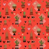 Seamless red background with cactuses Stock Photography