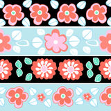 Seamless red, blue flowers pattern Stock Photos