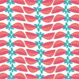 Seamless red blue leaf flowers fabric pattern Stock Photography