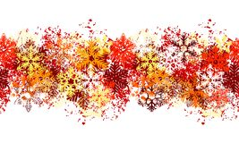 Seamless Red Border With Different Snowflakes Stock Photography