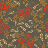 Seamless red and brown flower pattern. Royalty Free Stock Images