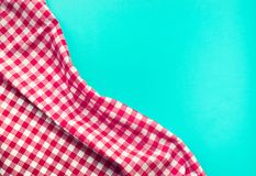 Seamless red checkered fabric with blue background. Stock Images