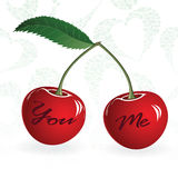 Seamless red cherry love valentine couple berry. Vector illustration. Element for design. Stock Photos
