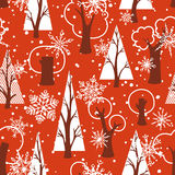 Seamless red Christmas pattern Stock Image