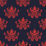 Seamless red colored floral arabesque pattern Stock Photo