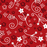 Seamless red floral background Stock Images