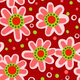 Seamless Red Floral Pattern Stock Images