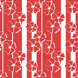 Seamless red floral pattern on striped Stock Image