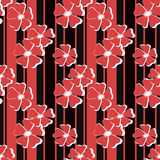 Seamless red floral pattern on striped Royalty Free Stock Photo