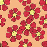 Seamless red flower pattern. On orange background,vector Royalty Free Stock Images