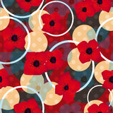 Seamless red flowers pattern with circles background Stock Photos