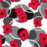 Seamless red flowers pattern with circles background. Seamless red flowers pattern with circles on white background Royalty Free Stock Photography