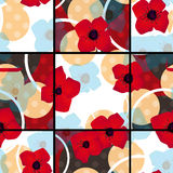 Seamless red flowers pattern with circles square background Royalty Free Stock Photo