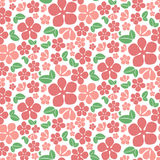 Seamless red flowers pattern. Cute floral texture. Vector illustration Royalty Free Stock Photo
