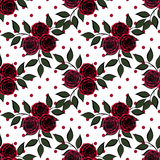 Seamless red flowers pattern white s background. Seamless red flowers pattern white with red circles background Royalty Free Stock Photography