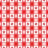 Seamless red gingham with floral pattern. Seamless red gingham geometrical pattern with floral or sun symbols, fun fabric, wallpaper or background vector illustration