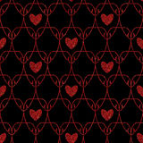 Seamless Red Glitter Hearts Art Nouveau Pattern Stock Image