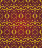 Seamless red & gold floral elegant pattern Royalty Free Stock Photos