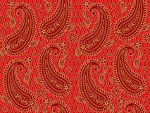 Seamless red and gold paisley pattern royalty free illustration