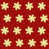 Seamless red and gold snow pattern vector illustration