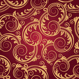 Seamless red & gold swirls wallpaper Royalty Free Stock Photo