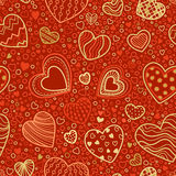 Seamless red and gold Valentine's pattern. Stock Photos