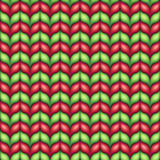 Seamless red green knitted pattern, Christmas scarf background illustration Royalty Free Stock Photography
