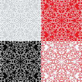 Seamless red, grey color and black and white floral patterns. Or Royalty Free Stock Photography