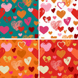 Seamless red hand drawn doodle pattern with hearts Royalty Free Stock Photos