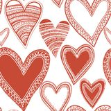 Seamless red heart pattern. Seamless hand-drawn heart pattern. This is file of EPS8 format Royalty Free Stock Photo