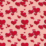 Seamless red hearts. A seamless pattern with hearts. vector illustration. easy to change colors - each color is a separate layer. no meshes Stock Photo