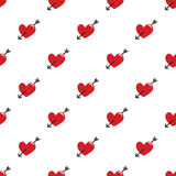 Seamless red hearts and arrow pattern on white Royalty Free Stock Photos