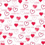 Seamless red hearts and I LOVE YOU pattern in white. Seamless red hearts pattern in white background with I Love You text in red, for Valentines Day or wedding Stock Illustration