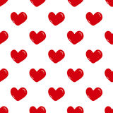 Seamless red hearts pattern on white Royalty Free Stock Photo