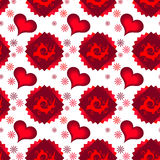 Seamless of red multilayer hearts, squares and chamomiles stock illustration