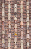 Seamless red old roof tiles repaired  texture Stock Photo