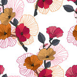 Seamless red, orange and black floral pattern. Vector illustration. Color seamless floral pattern on white background. Dark branch with red, orange lavatera Royalty Free Stock Photo