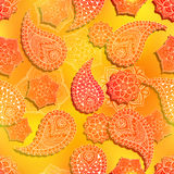 Seamless red orange flower paisley pattern Stock Photography