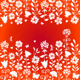 Seamless red pattern with flowers and butterflies. Seamless red pattern with silhouettes flowers, butterflies and dragonflies. Place for text. Bright summer vector illustration