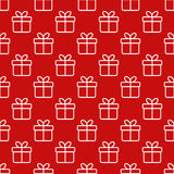 Seamless red pattern with gift boxes Stock Photography